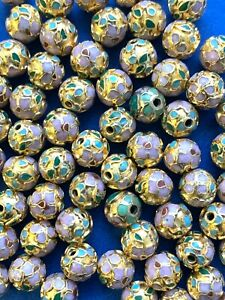 50 8mm Round Vintage Pink & Gold Cloisonne Beads - 1/2 Drill Great for Earrings
