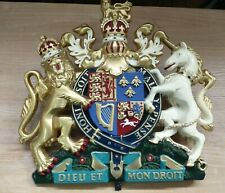 More details for large vintage hand-painted royal coat of arms queen's warrant plaque wall crest