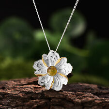 Natural Tourmaline Peony Flower Pendant Solid 925 Silver Fine Jewelry for Women