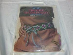 """Vtg 1974 Avon Crewel Embroidery Yarn Starburst Belt Kit 32"""" x 2"""" Hippy Boho"""