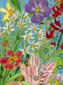 """*YEARLY SALE* ACEO """"Summer Glory"""" Original Collage Painting, Hélène Howse"""