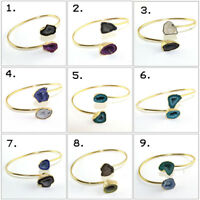 Sale Royal Natural Geode Druzy Gold Plated Adjustable Bangle Bracelet Jewelry