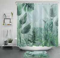 Tropical Leaves Shower Curtain Nature Jasper Palm Leaf Bathroom Accessory Sets