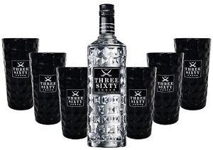 Three Sixty Vodka 0,7l 700ml (37,5% Vol) + 6x Black Longdrink-Gläser eckig schw
