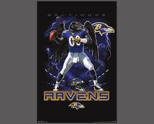Rare Baltimore Ravens ON FIRE Quarterback Action NFL Theme Art POSTER