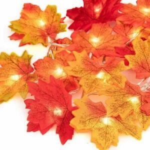 LED Artificial Maple Leaf Garlands Autumn Vines Party Fireplace Christmas Decor