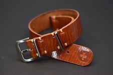 NATO ZULU G10 Watch Strap fits Omega VINTAGE Cognac Genuine Leather 18 - 24mm