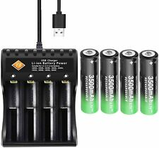 More details for 18650 battery charger, 4 pcs 3.7v rechargeable lithium ion batteries, 4-slot cha