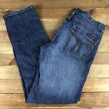 Calvin Klein Women's Jeans Size 29/8 (32x31) Dark Wash Mid Rise Tapered Leg