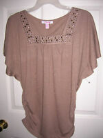 MOCHA STUDDED shirt womens size SMALL BROWN  SQUARE neck LENA RUCHED T20