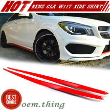 Painted Red Metallic For Mercedes BENZ W117 CLA45 4D Sedan Side Skirt Add on