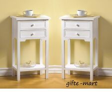2 modern white small side End bedside Table shabby Night stand 2 drawer shelf