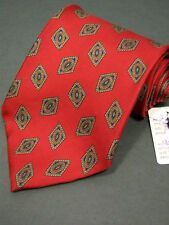 """""""Stafford"""" Mens Neck tie 100% Imported Silk..In Monarch Red with Diamond shapes"""