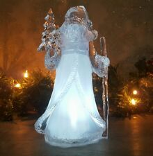 Light Up Acrylic Crystal Ice Effect Santa Christmas Ornament LED Xmas Decoration