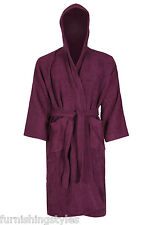 Unisex 100% Cotton Terry Towelling Bath Robe Hooded Soft Dressing Gown