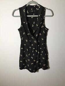 sportsgirl WomensPlaysuit Romper Size 6 Black Patterned  Sleeveless Good Condt