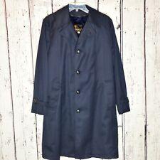 Anderson-Little Vintage Long Button Dress Coat Fur Lined Jacket Sz 38 Navy *note