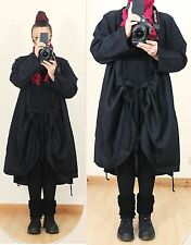 2in1 WICKEL KNOTEN LEINEN JACKE Schwarz Long Tunika Lagenlook Gr 44 46 48 50 XXL