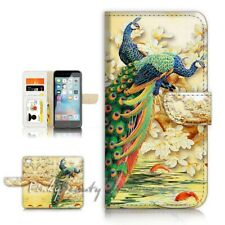 ( For iPhone SE ) Wallet Case Cover P21546 Peacock