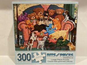 Bits and Pieces 300 Piece GRANDMAS ARMCHAIR Puzzle LARGE Format Dogs Teddy Bear