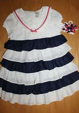 NWT Gymboree Blooming Nautical 5T Set Navy Blue White Striped Ruffle Dress Clips