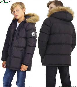 NEW BOYS COATS KIDS BACK TO SCHOOL FUR HOODED PARKA JACKET WINTER WARM COAT SIZE