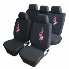 9PCS Universal Pink Flower Embroidery Car Seat Cover Auto Black Seat Protector