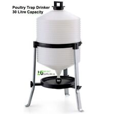 Poultry Trap Drinker 30l Gravity Plastic Chicken Hens Hen 30 Birds Tripod Stand