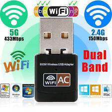 600Mbps Dual Band 2.4G/5G Hz Wireless Lan USB PC WiFi Adapter 802.11ac/a/b/g/n