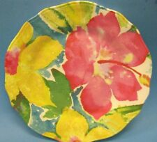NICOLE MILLER PINK YELLOW Scalloped Hibiscus SALAD PLATES MELAMINE SET of 4