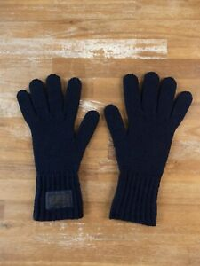 PRADA navy blue wool knit gloves authentic - Size Large