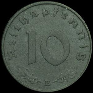 DRITTES REICH: 10 Reichspfennig 1945 E. ZINK MIT HK - SELTENER.