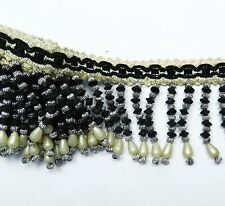 Black Decorative Ribbon Upholstery Curtain Beaded Fringe Craft Supplies By 1 Yd