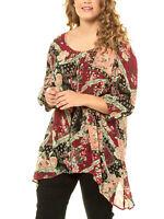 Ulla Popken tunic blouse top plus size 20/22 24/26 28/30 36/38 crinkle hanky hem