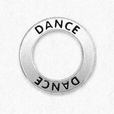 DANCE Antiqued Silver 19mm Donut Circle Affirmation Charm or Pendant 1pc