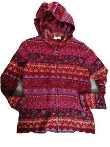 ♥♥♥ DUNQUE Strickjacke, Größe L, Schurwolle und Baumwolle, rot, pink, Hippie, Bo