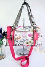 "COACH ""Graffiti"" Multiway Crossbody Grab Bag Pink/Silver Sateen/Leather F16267"