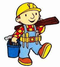 "2.5"" BOB THE BUILDER HAMMER WOOD FABRIC APPLIQUE IRON ON CHARACTER"