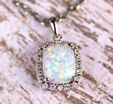 14K White Gold 10 x 8 MM Created Opal & .05 CTW Diamond 18 inch Pendant Necklace