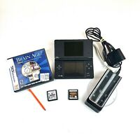 Nintendo DSi DS Black Console Bundle Charger & Games Tested Working TWL-001(USA)