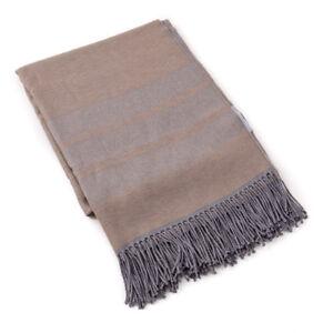 NWT $925 BATTISTI NAPOLI Tan-Gray Striped Superfine Wool Throw Blanket + Box