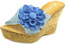Patrizia by Spring Step Size 8.5 NEW Extravagant Floral Cork Wedge Blue Shoes