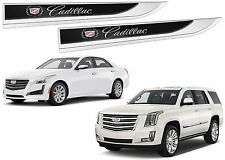 Pair Chrome Cadillac Fender Emblems Blades CTS ATS Escalade New Free Shipping