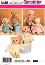 Simplicity Sewing Pattern 8155 Teddy Bears with Clothes Soft Toys