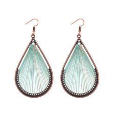 Vintage Women Hook Earring Water Drop Colourful Tassels Feather Bohemian Earring