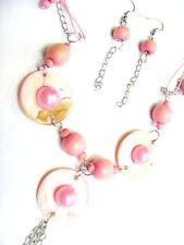 & Earrings Set Free Uk Post! Ns11 Pink Pearl Bead Shell Silver Metal Necklace