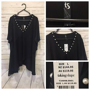 New TAKING SHAPE Size L (AU 20 22) Black pearl Short Sleeve Tunic Top - RRP 119.