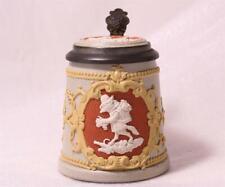 New listing Antique Mettlach Villeroy/Boch Kid's Beer Stein #1525 Fox w/Grapes d.1894