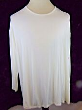 Leo & Nicole Woman 2X Tunic Top LS Solid Ivory New With Tags
