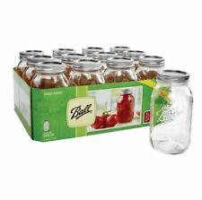 Ball 32 oz Regular Mouth Canning Mason Quart Jars,lids & bands clear glass 12/Bx